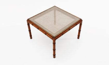 Tavolino quadrato con piano in paglia di Vienna anni '70, coffee table, decoration, italian design, vintage, 70s, vivai del sud, crespi