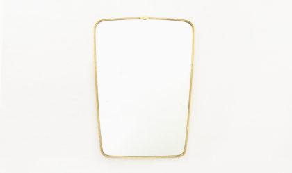 specchio con cornice in ottone anni '50, brass mirror, 50s, gio ponti, italian design, vintage, modernist, 40s, paolo buffa
