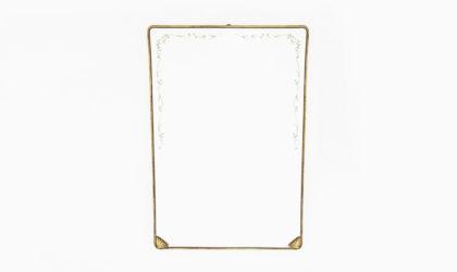 Specchio con cornice in ottone e specchio decorato anni 50, brass mirror, 50s, gio ponti, italian modern design, mid-century, vintage, 40s