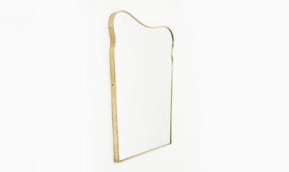Specchio con cornice in ottone anni 50, gio ponti, vintage, brass mirror, 50s, italian design modern, mi-century, paolo buffa, ulrich