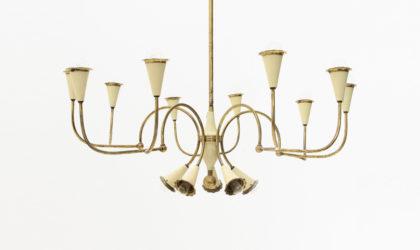 Lampadario in ottone a 14 luci anni 50, chandelier, 50s, vintage, brass, italian modern design, mid century, decoration, flower, stilnovo