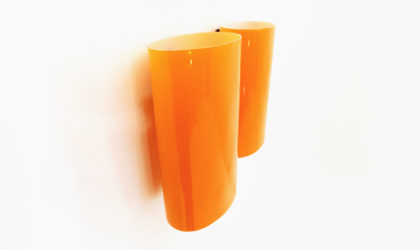 Coppia di applique in vetro arancione di Alessandro Pianon per Vistosi anni 60, wall lights, orange glass, italian design modern, venini, 60s, 50s