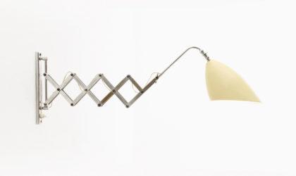 Lampada Da Muro A Pantografo Con Paralume Crema anni 50, wall lamp, italian design, vintage, pantograph, bbpr, brass, stilnovo