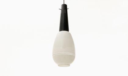 Lampadario in vetro bianco e nero anni 50, pendant lamp, chandelier, 50s, italian design, vintage, glass, mid-century,