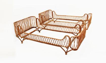 Coppiai di letti singoli in bamboo e rattan anni 50, single beds, 50s, italian design, bonacina, albini helag, gio ponti, italian design, woven rattan