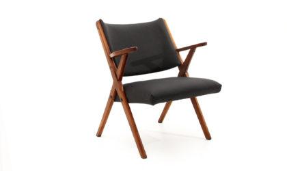 Poltrona in tessuto e legno Dal Vera anni 60, armchair, 60s, italian design, vintage, gray, black, wood, vintage, modern, nera