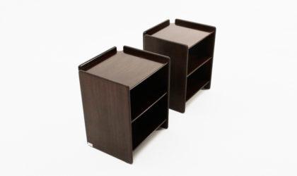 Coppia di comodini in compensato di Sergio Asti per Poltronova anni 60, bedside tables, 60s, plywood, italian modern, sottsass, nightstands, vintage