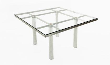 Tavolo Quadrato Andrè Di Tobia Scarpa Per Gavina anni 60, 60s, 70s, steel, italian modern, chromed, vintage, glass, mid-century modern