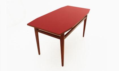 Tavolo con piano in formica rossa anni 50, dining table, red, 50s, 60s, franco albini, poggi, italian design modern, mid-century, wood