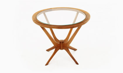 Mid-Century Italian Wood and Glass Coffee Table, 1950s