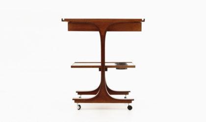 Carrello in legno di Gianfranco Frattini per Bernini anni 60, cart, 60s, wood, plywood, vintage, italian modern design, cassina, mid-century