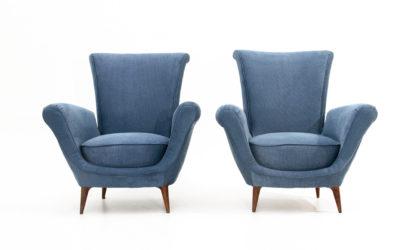 Coppia di poltrone in tessuto blu anni 50, armchairs, 50s, italian design, gio ponti, mid-century modern, blue, vintage, schienale alto
