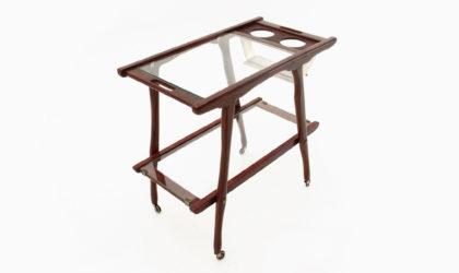 Carrello portavivande con piani in vetro anni 50, cart, serving trolley, 50s, cesare lacca, ico parisi, italian modern, vintage, glass, wood