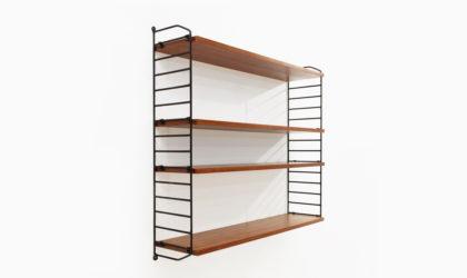 Libreria modulare pensile in metallo e teak anni 60, shelves, bookcase, vintage, mid-century, string, italian modern, black
