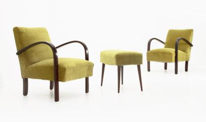 Coppia di poltrone in velluto verde con pouf anni 30, armchairs with pouf, vintage, modernist, razionalismo, 30s, 50s, paolo Buffa, cassina