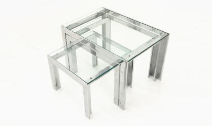 Tris di tavolini in acciaio e vetro di Alberto Rosselli per Saporiti anni 70, nesting table, 70s, steel and glass, salocchi, vintage, italian modern