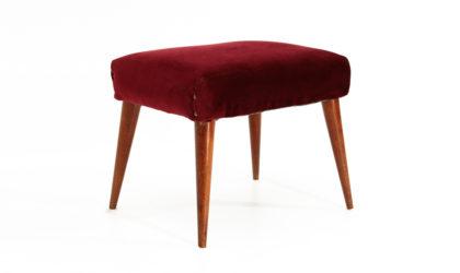 Pouf in velluto bordeaux anni '50, stool, vintage, velvet, italian design, 50s, mid-century modern, panca
