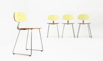 4 sedie in formica gialla di Georges Coslin per 3V Arredamenti anni anni 50, dining chairs, 50s, italian design, vintage, chromed,