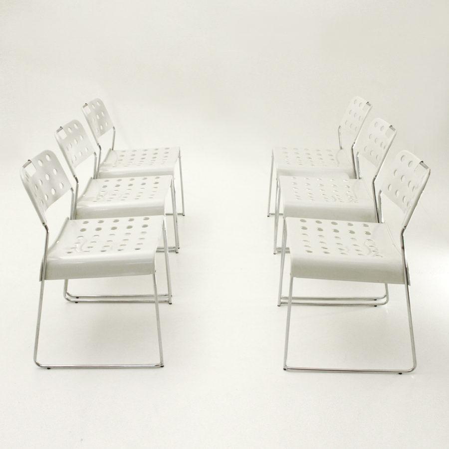 Dettagli su sei Sedie Omstak Bianche Di Rodney Kinsman Per Bieffeplast anni '70, chairs 70's